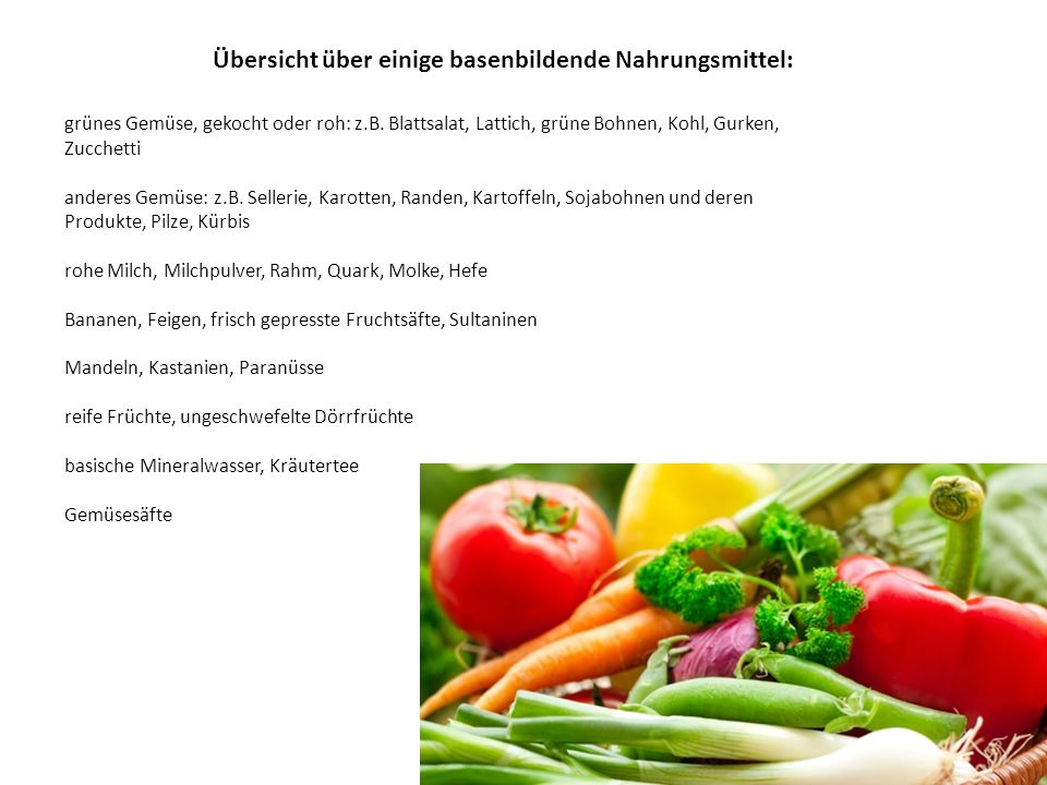 Übersicht über einige basenbildende Nahrungsmittel: