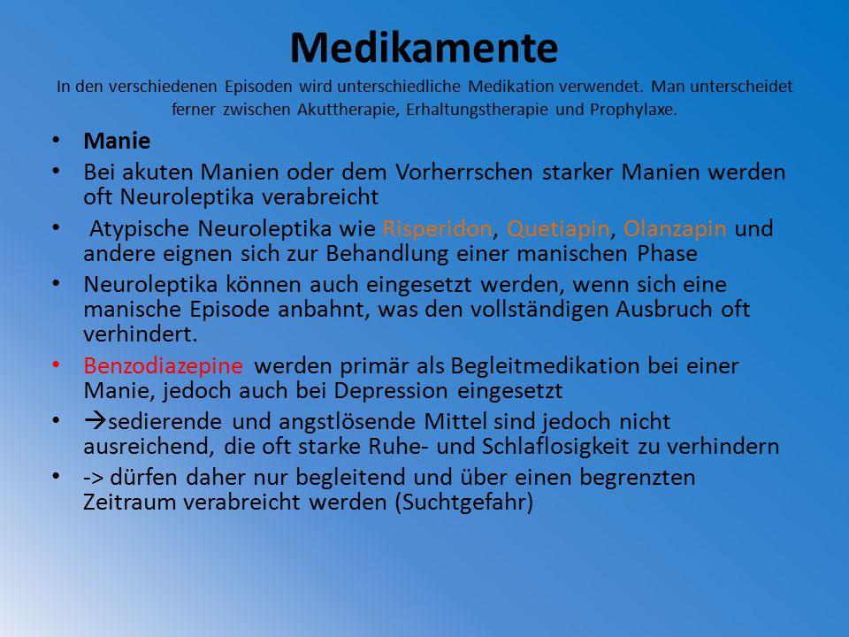 Medikamente In den verschiedenen Episoden wird unterschiedliche Medikation verwendet. Man unterscheidet ferner zwischen Akuttherapie, Erhaltungstherapie und Prophylaxe.
