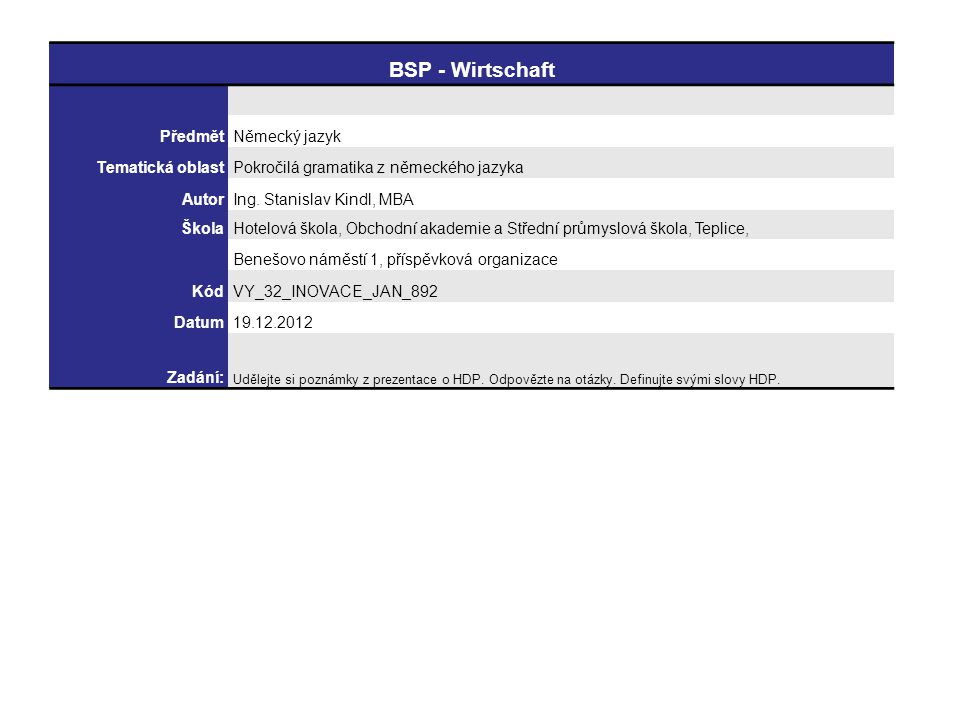 BSP - Wirtschaft Předmět Německý jazyk Tematická oblast