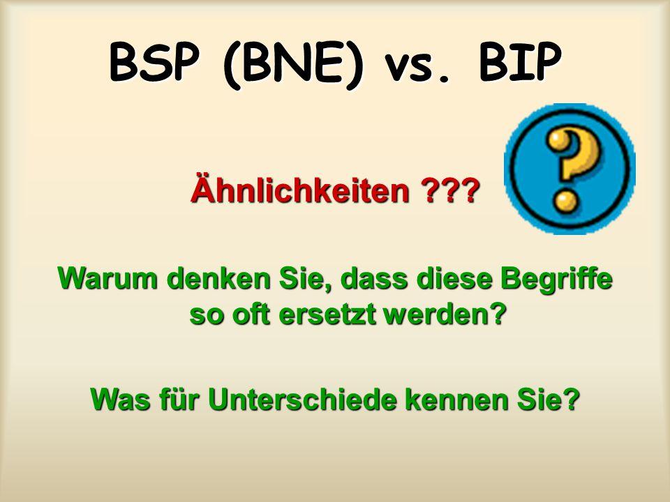 BSP (BNE) vs. BIP Ähnlichkeiten