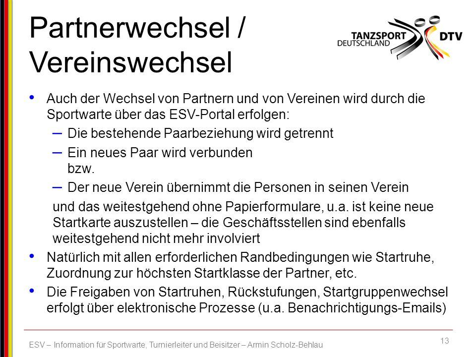 Partnerwechsel / Vereinswechsel