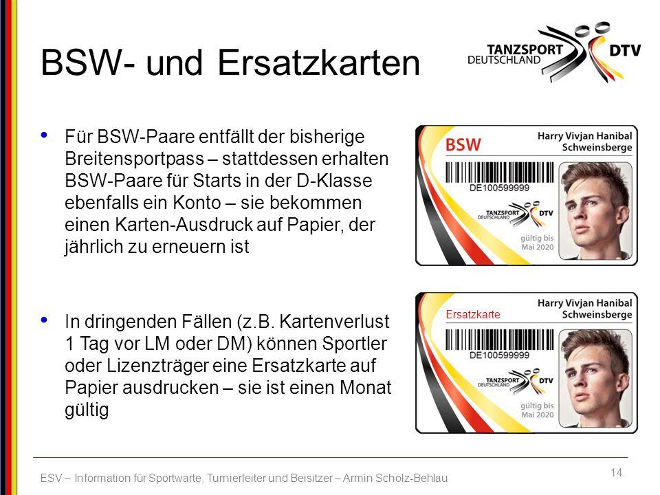 BSW- und Ersatzkarten