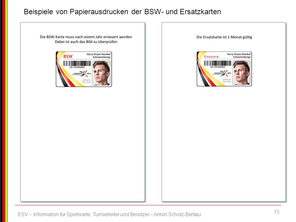 Beispiele von Papierausdrucken der BSW- und Ersatzkarten