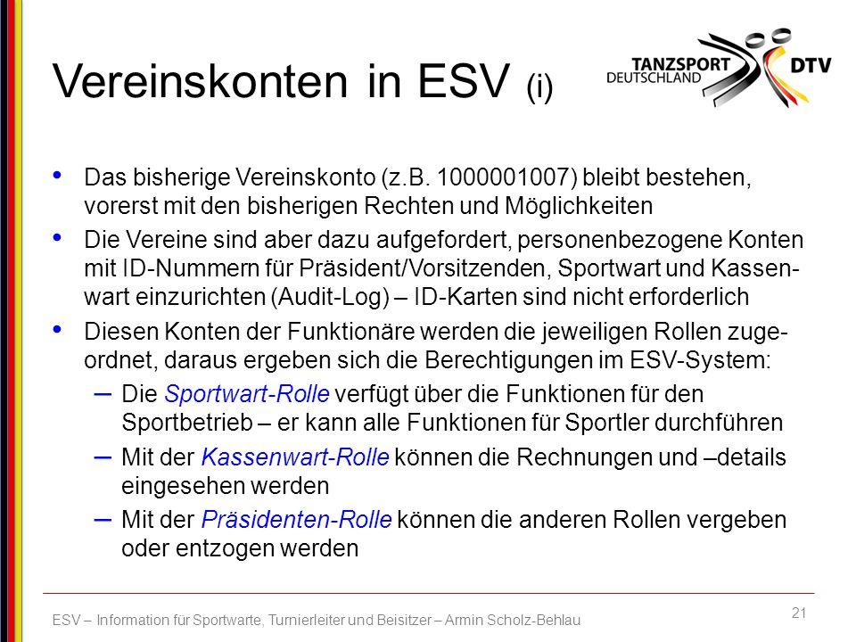 Vereinskonten in ESV (i)