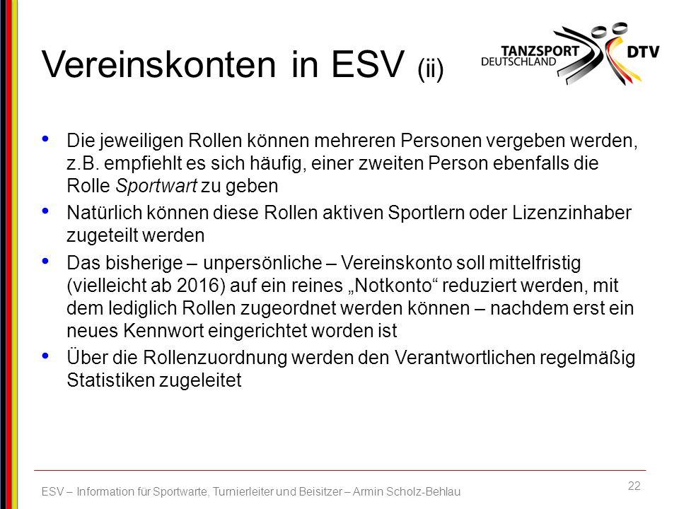 Vereinskonten in ESV (ii)