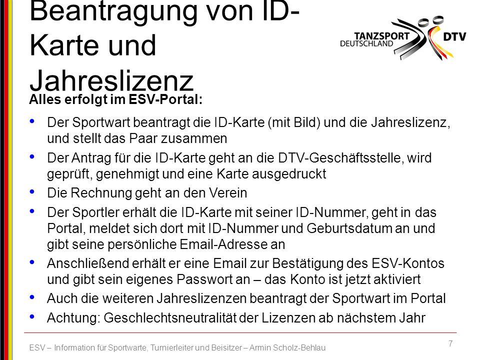 Beantragung von ID-Karte und Jahreslizenz