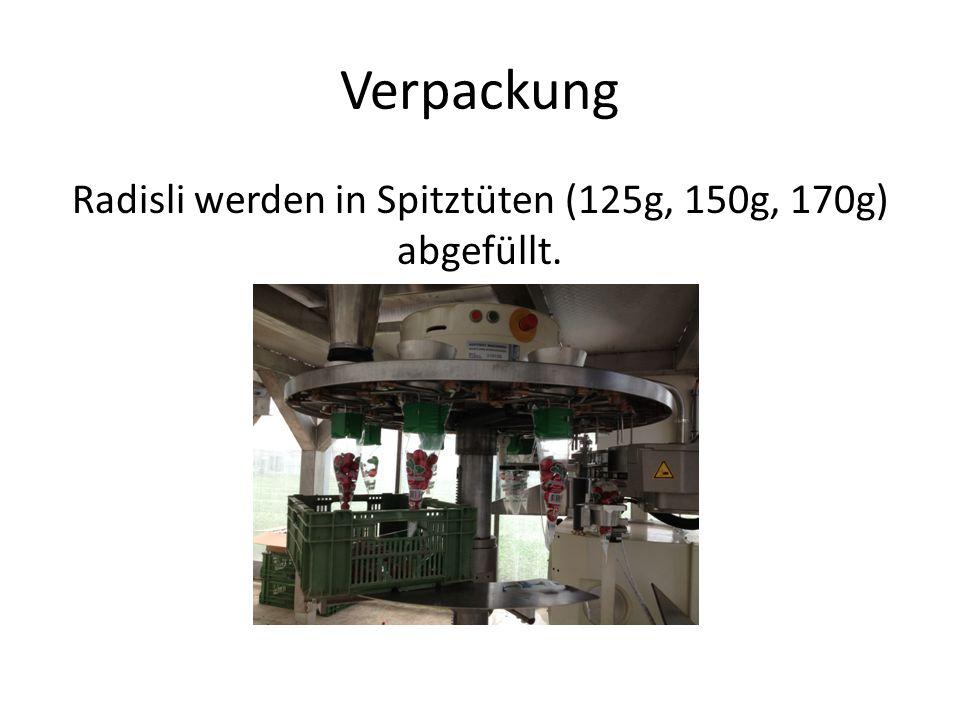 Radisli werden in Spitztüten (125g, 150g, 170g) abgefüllt.