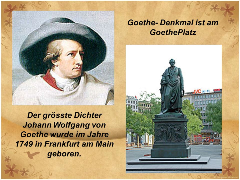 Goethe- Denkmal ist am GoethePlatz