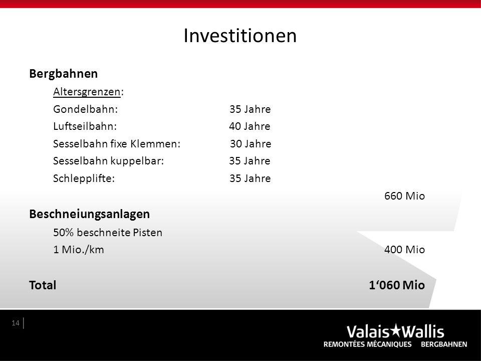 Investitionen Bergbahnen Beschneiungsanlagen Total 1'060 Mio