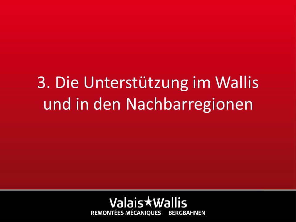 3. Die Unterstützung im Wallis und in den Nachbarregionen