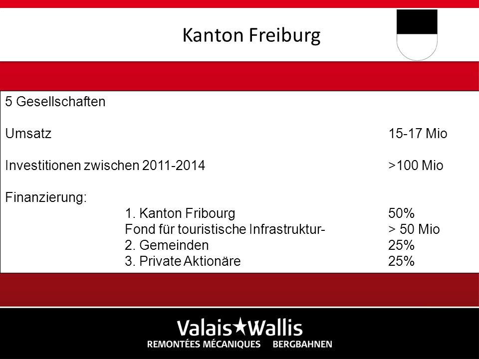 Kanton Freiburg 5 Gesellschaften Umsatz 15-17 Mio