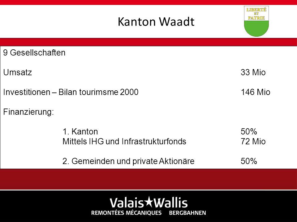 Kanton Waadt 9 Gesellschaften Umsatz 33 Mio