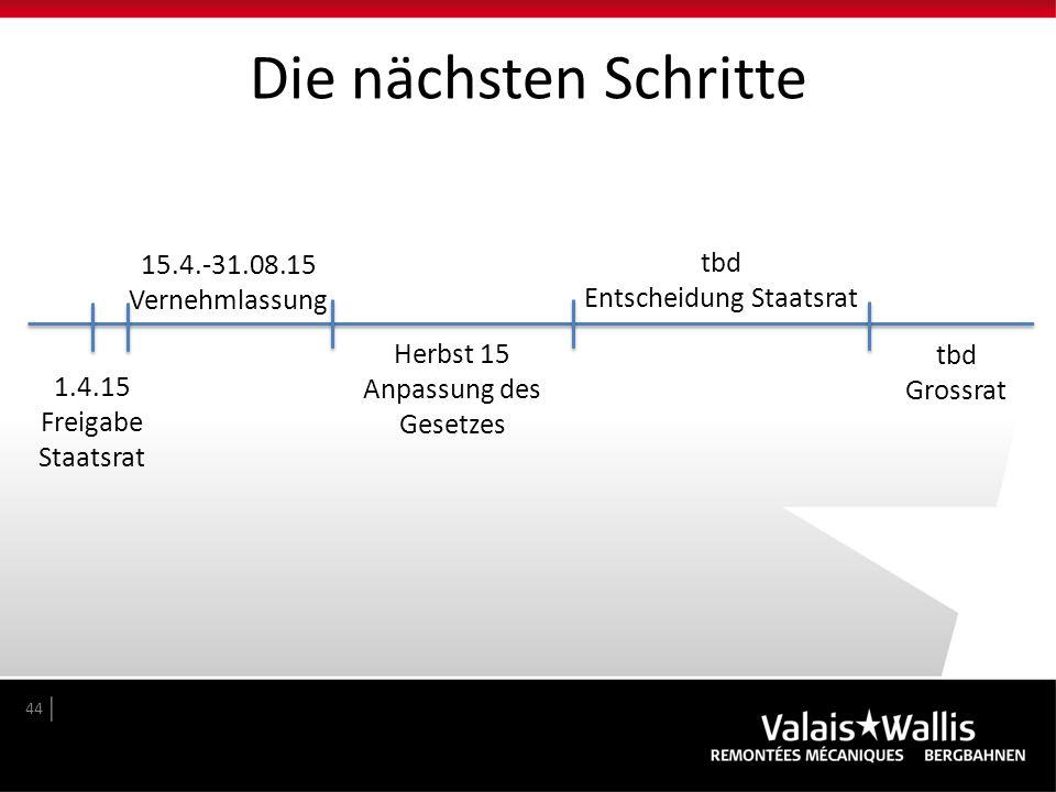 Die nächsten Schritte 15.4.-31.08.15 tbd Vernehmlassung