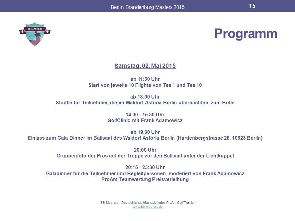 Programm Samstag, 02. Mai 2015 Berlin-Brandenburg-Masters 2015