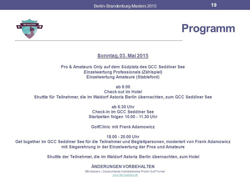 Programm Sonntag, 03. Mai 2015 Berlin-Brandenburg-Masters 2015