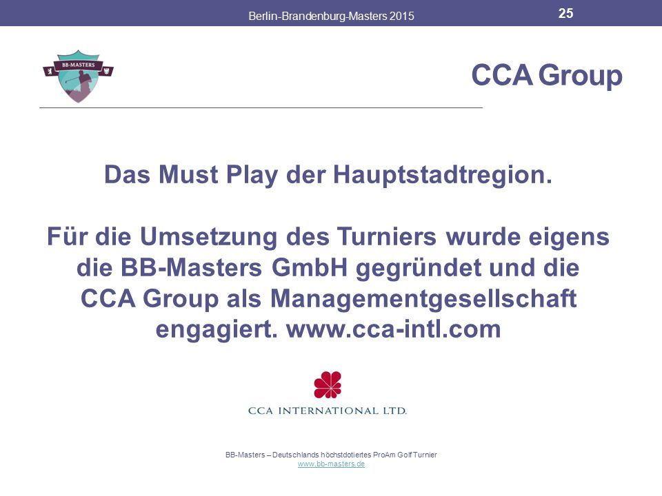 CCA Group Das Must Play der Hauptstadtregion.