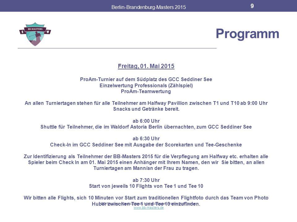 Programm Freitag, 01. Mai 2015 Berlin-Brandenburg-Masters 2015