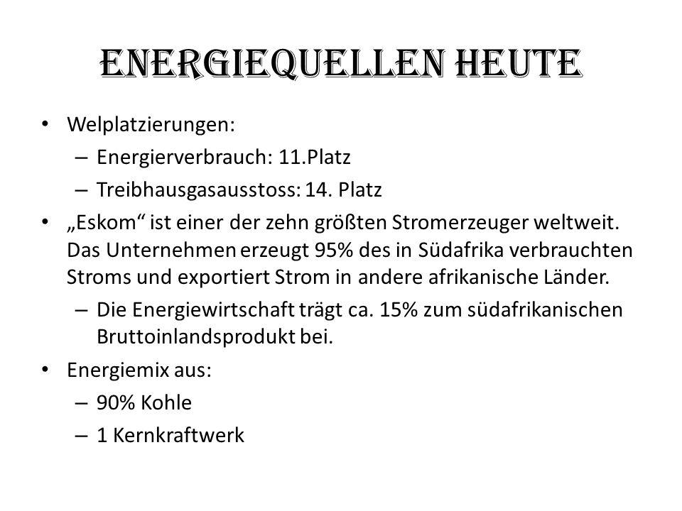 Energiequellen Heute Welplatzierungen: Energierverbrauch: 11.Platz