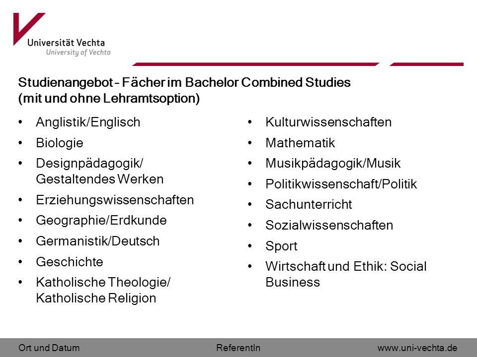 Studienangebot – Fächer im Bachelor Combined Studies (mit und ohne Lehramtsoption)