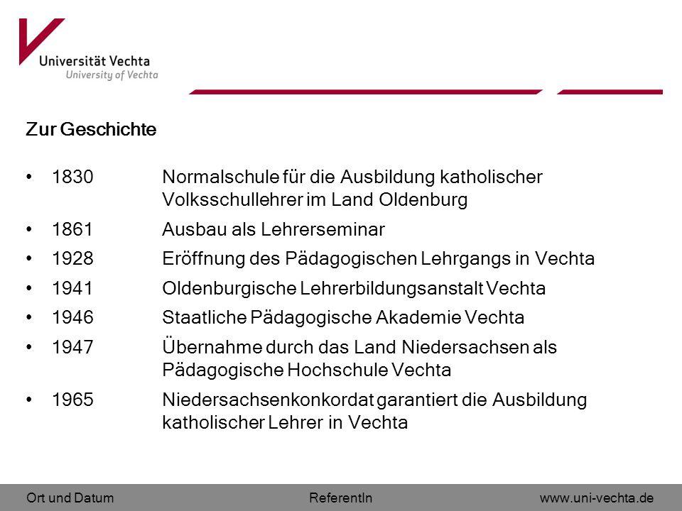 Zur Geschichte 1830 Normalschule für die Ausbildung katholischer Volksschullehrer im Land Oldenburg.