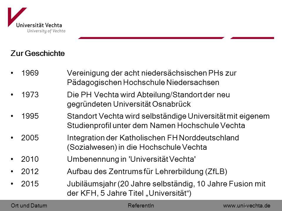 Zur Geschichte 1969 Vereinigung der acht niedersächsischen PHs zur Pädagogischen Hochschule Niedersachsen.