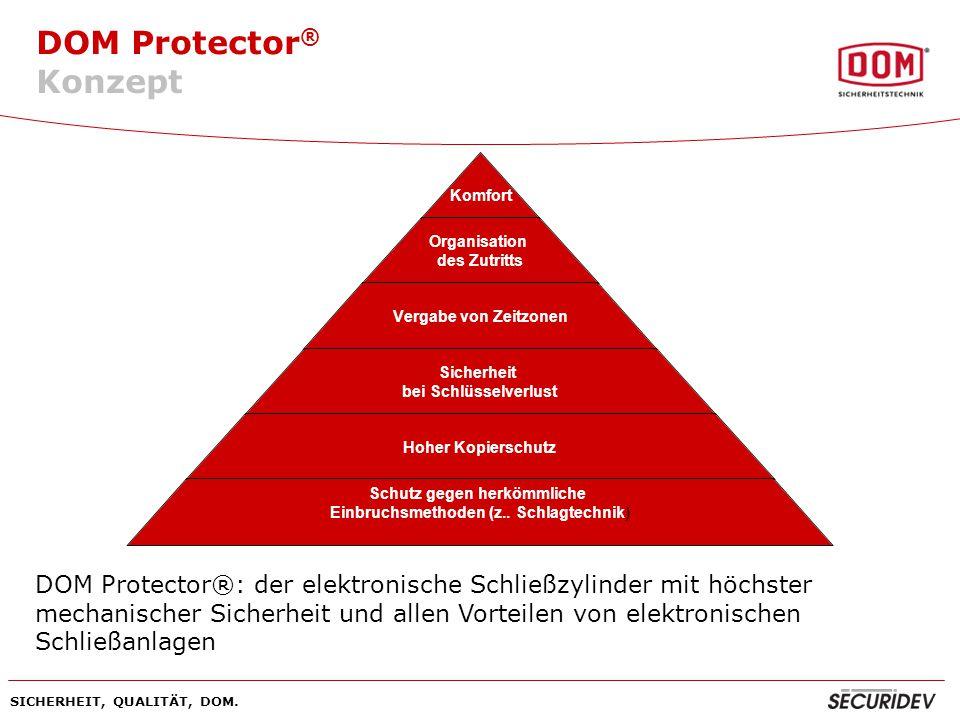 Konzept DOM Protector®: der elektronische Schließzylinder mit höchster mechanischer Sicherheit und allen Vorteilen von elektronischen Schließanlagen.