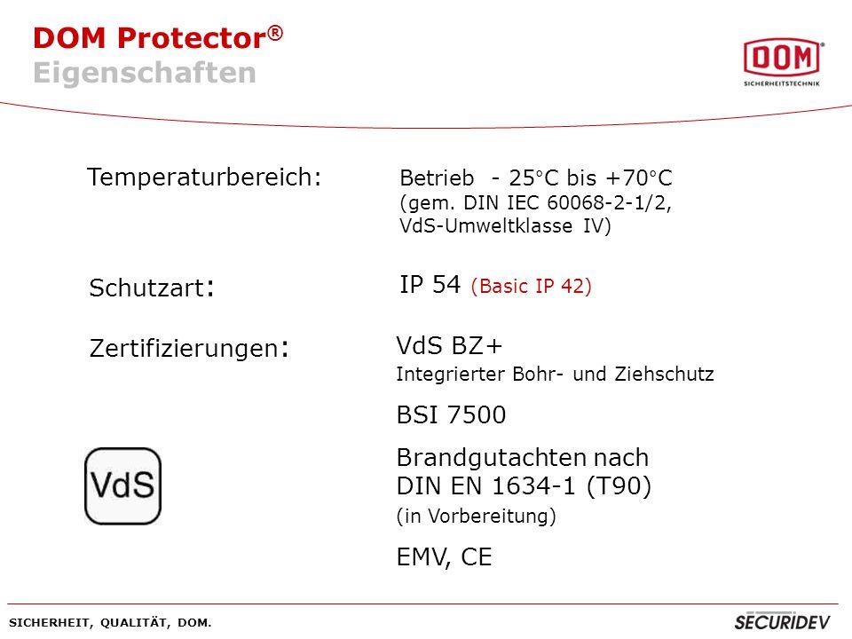 Eigenschaften Temperaturbereich: Schutzart: IP 54 (Basic IP 42)