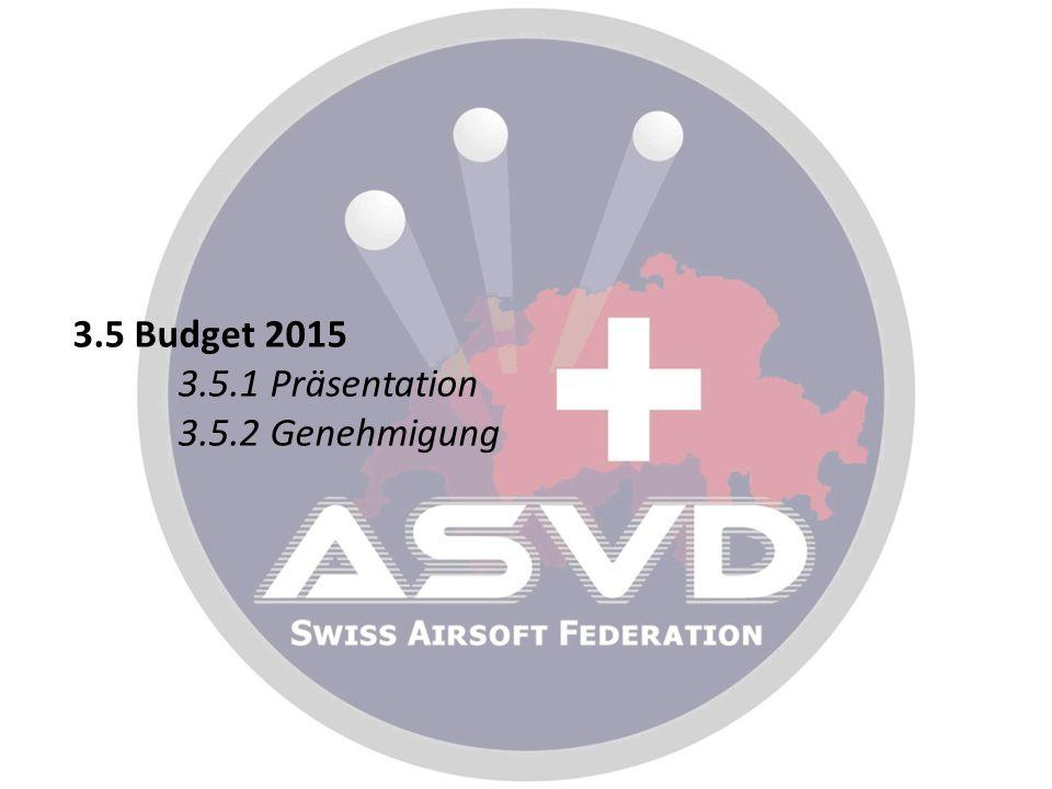 3.5 Budget 2015 3.5.1 Präsentation 3.5.2 Genehmigung