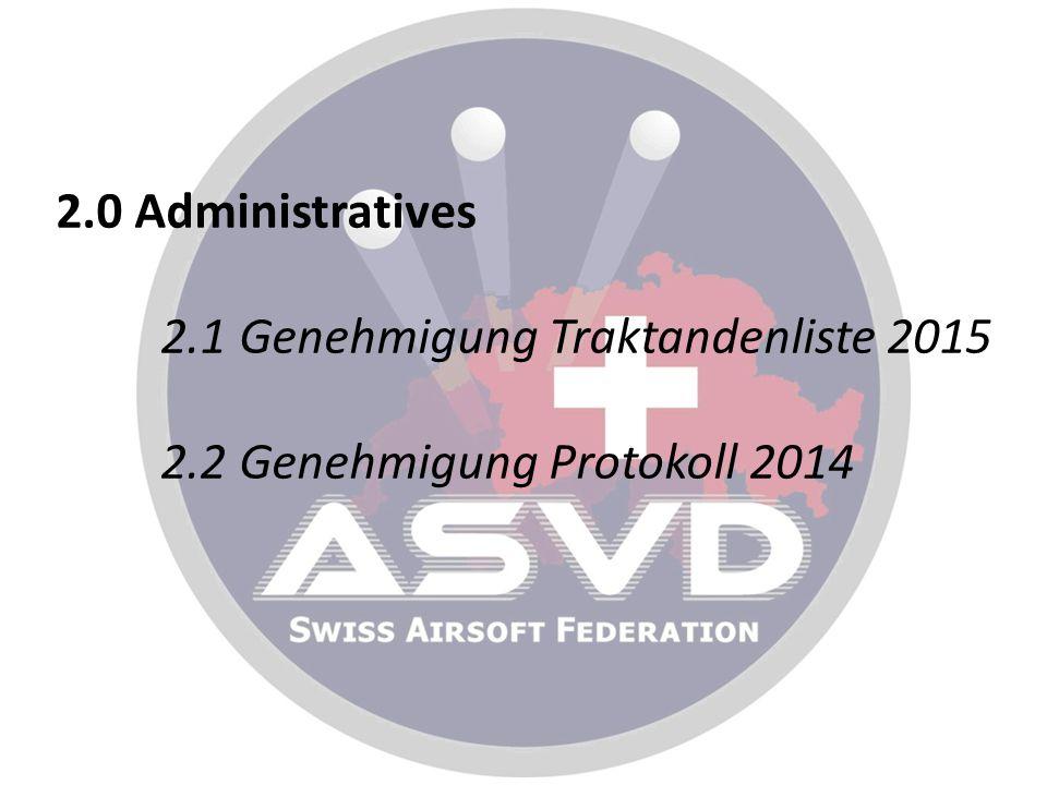 2. 0 Administratives 2. 1 Genehmigung Traktandenliste 2015 2