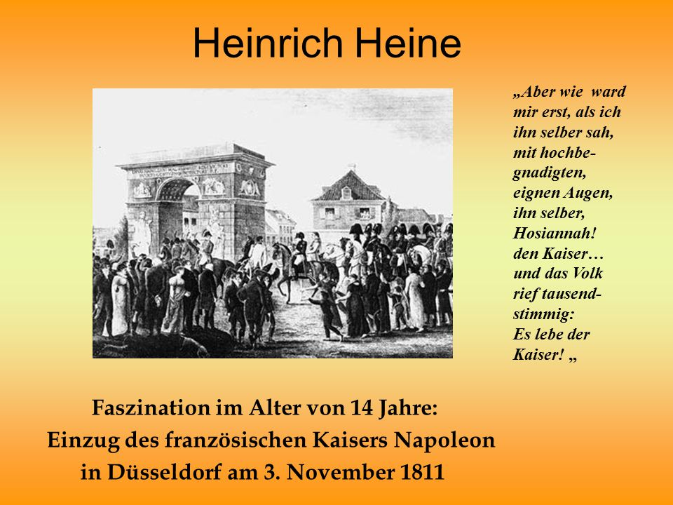 Heinrich Heine Faszination im Alter von 14 Jahre: