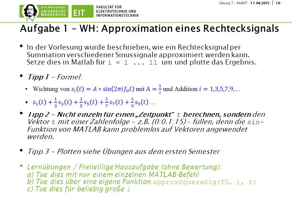 Aufgabe 1 – WH: Approximation eines Rechtecksignals
