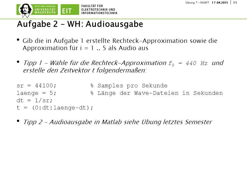 Aufgabe 2 – WH: Audioausgabe