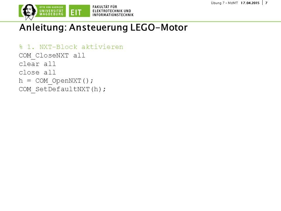 Anleitung: Ansteuerung LEGO-Motor