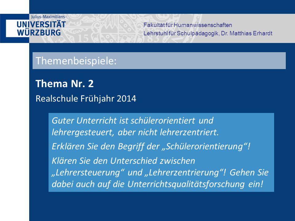 Themenbeispiele: Thema Nr. 2 Realschule Frühjahr 2014