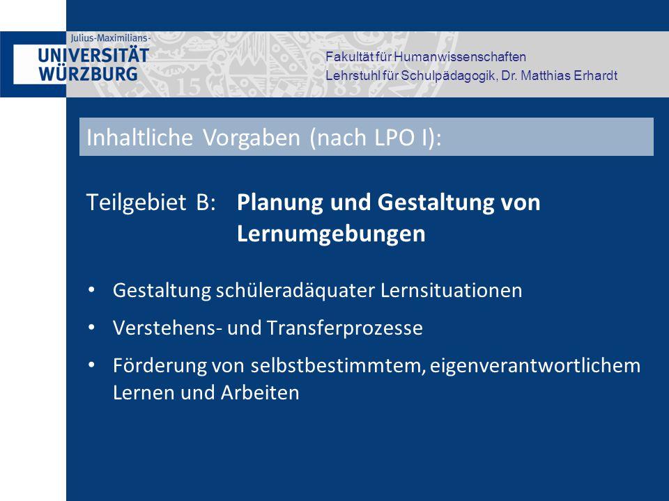 Inhaltliche Vorgaben (nach LPO I):