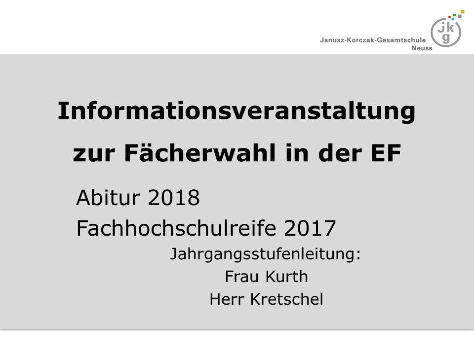 Informationsveranstaltung zur Fächerwahl in der EF