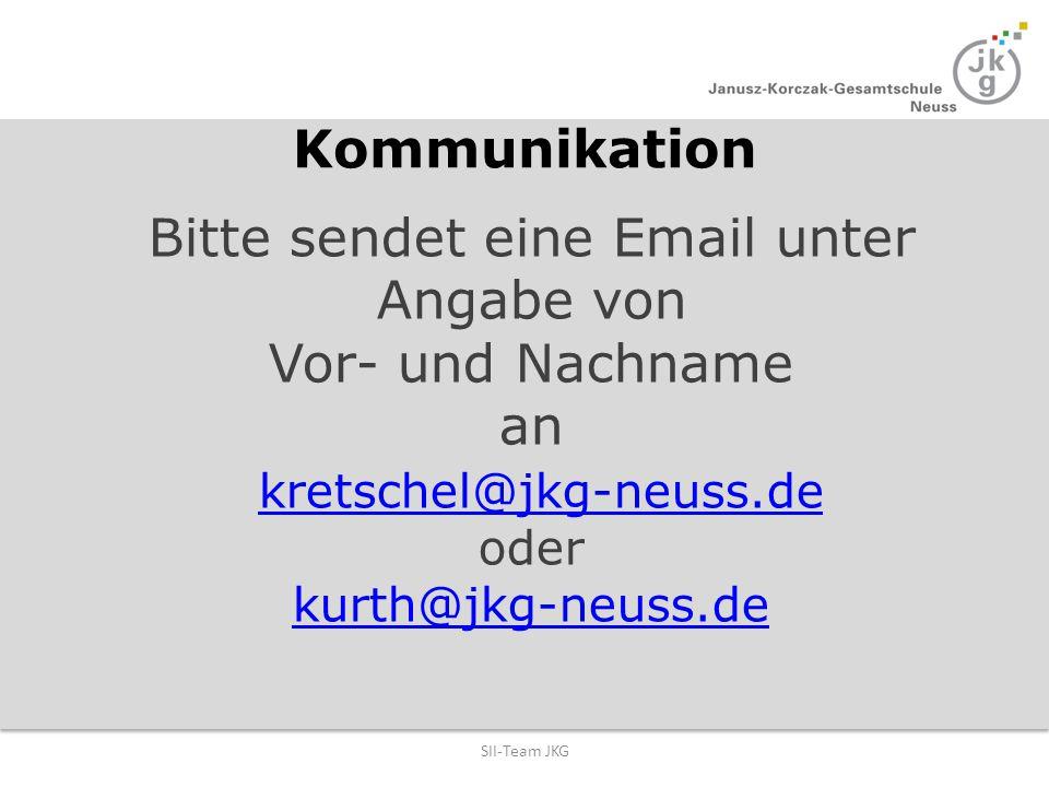 Bitte sendet eine Email unter Angabe von Vor- und Nachname