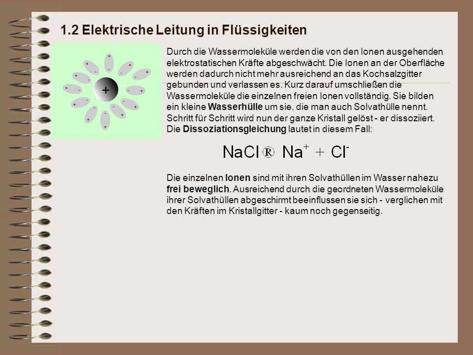 1.2 Elektrische Leitung in Flüssigkeiten