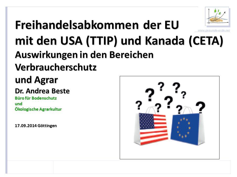 Freihandelsabkommen der EU mit den USA (TTIP) und Kanada (CETA)