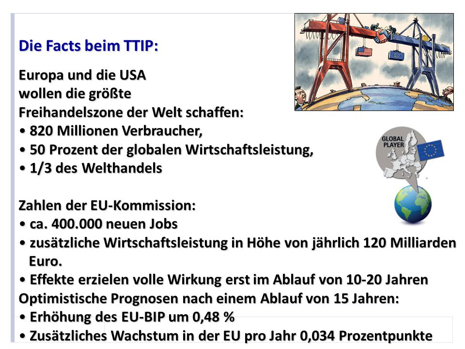 Die Facts beim TTIP: Europa und die USA wollen die größte Freihandelszone der Welt schaffen: 820 Millionen Verbraucher,