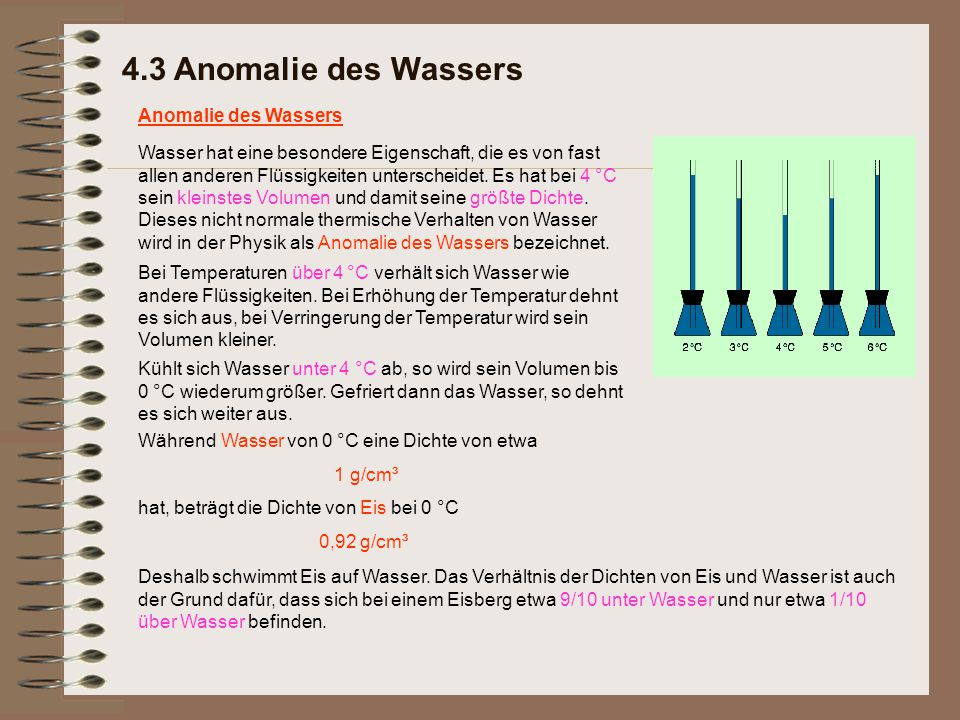 4.3 Anomalie des Wassers Anomalie des Wassers