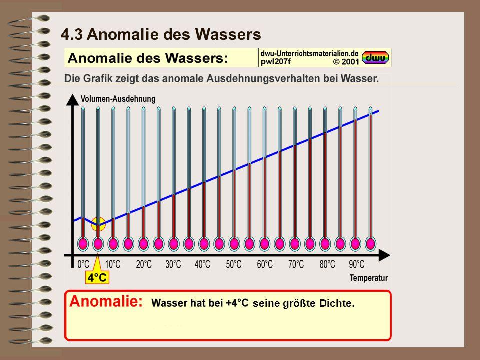 4.3 Anomalie des Wassers seine größte Dichte.