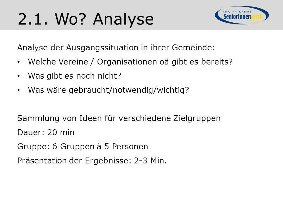 2.1. Wo Analyse Analyse der Ausgangssituation in ihrer Gemeinde: