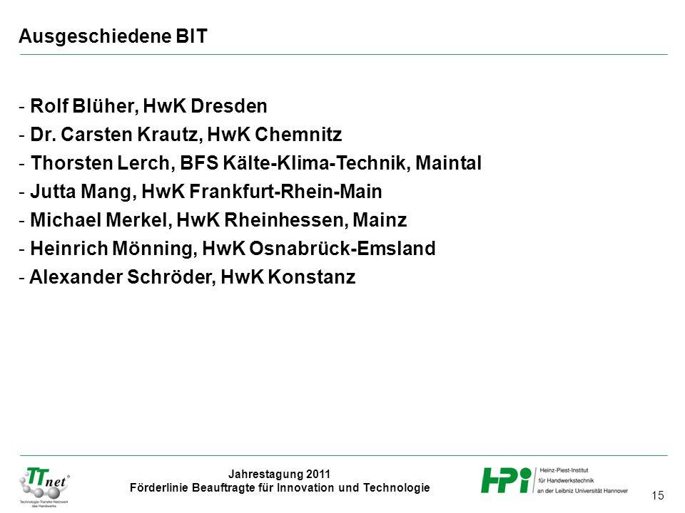 Ausgeschiedene BIT Rolf Blüher, HwK Dresden. Dr. Carsten Krautz, HwK Chemnitz. Thorsten Lerch, BFS Kälte-Klima-Technik, Maintal.