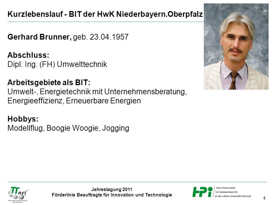 Kurzlebenslauf - BIT der HwK Niederbayern.Oberpfalz