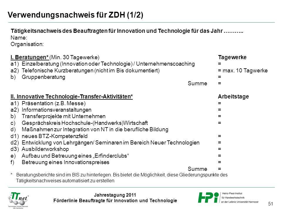 Verwendungsnachweis für ZDH (1/2)