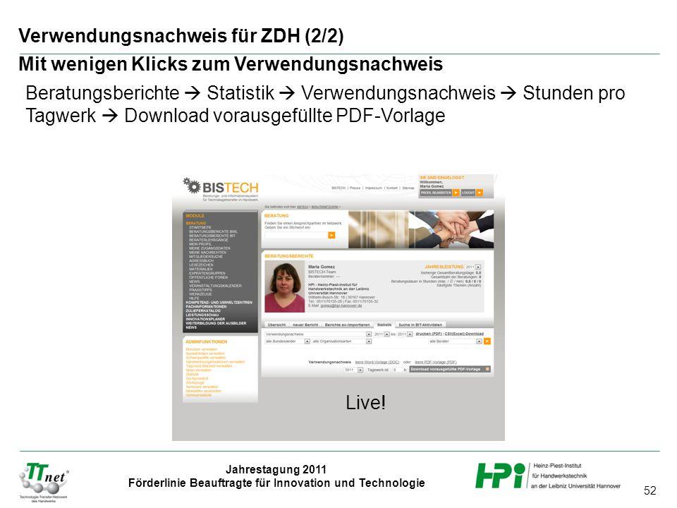 Verwendungsnachweis für ZDH (2/2)