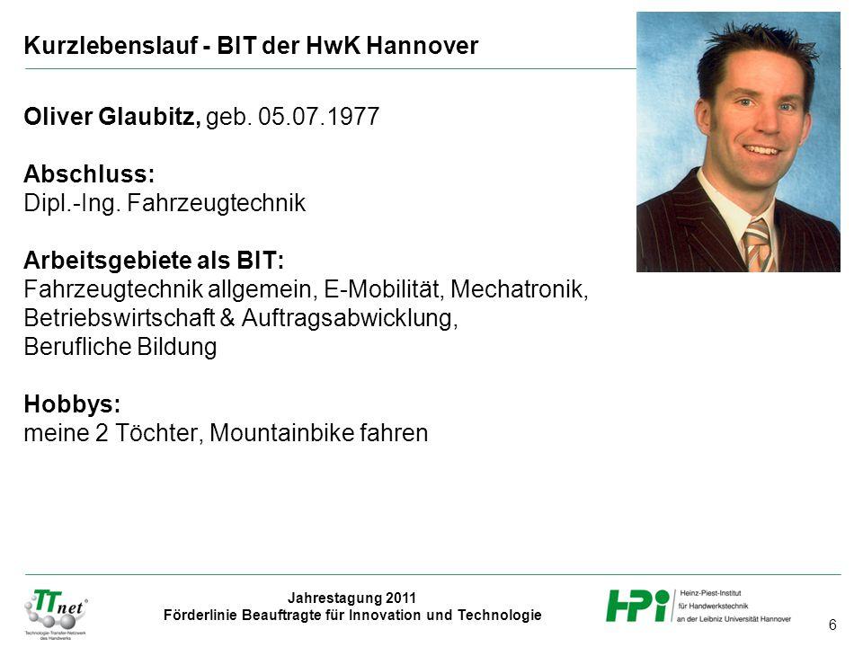 Kurzlebenslauf - BIT der HwK Hannover