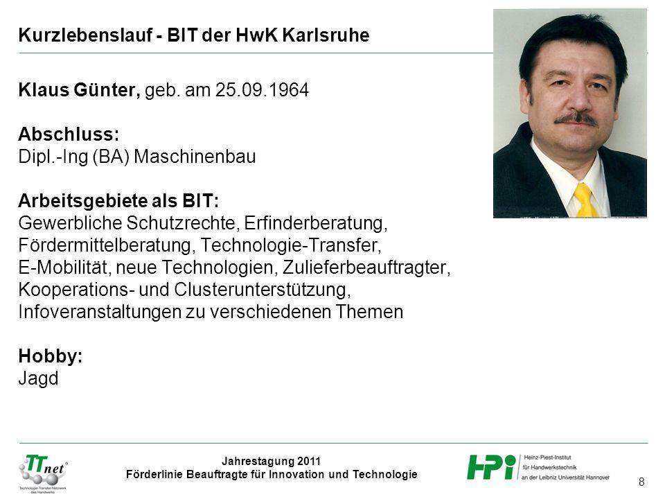 Kurzlebenslauf - BIT der HwK Karlsruhe