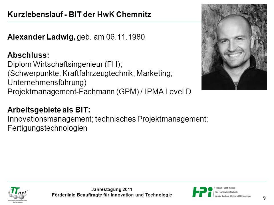 Kurzlebenslauf - BIT der HwK Chemnitz